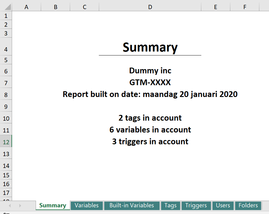 Summary view