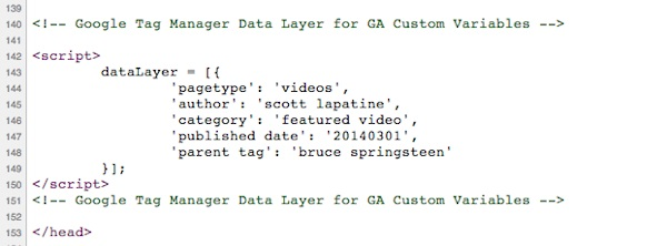 GTM datalayer example